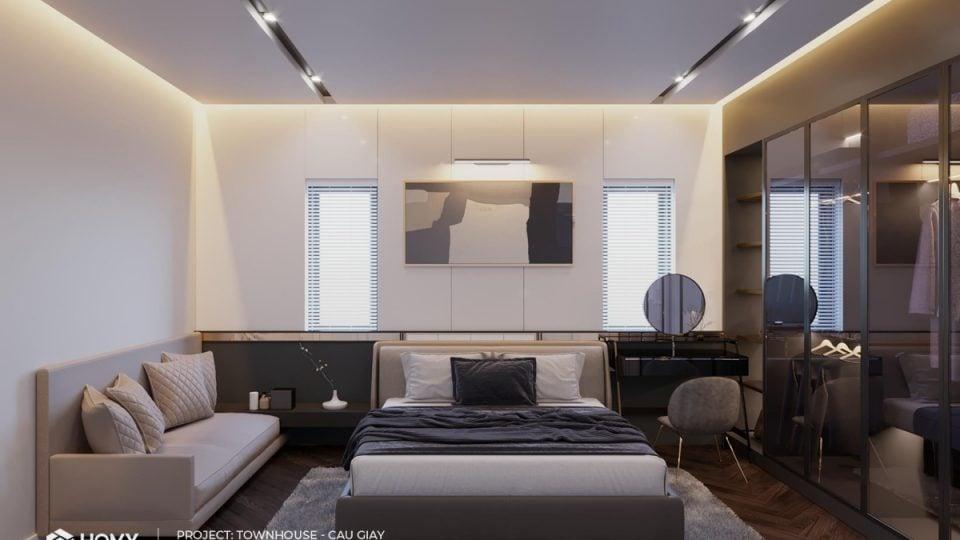 Phòng ngủ cho cô con gái có màu sắc đơn giản, đồ đạc cũng tối giản và thanh mảnh gợi lên sự yên tĩnh và sang trọng cho không gian.