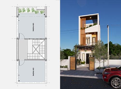 Thiết kế nhà 2 tầng 4.5 x 10 - Chi phí xây dựng chỉ 650 triệu
